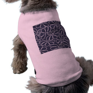 Navy Blue Whimsical Ikat Floral Doodle Pattern Sleeveless Dog Shirt