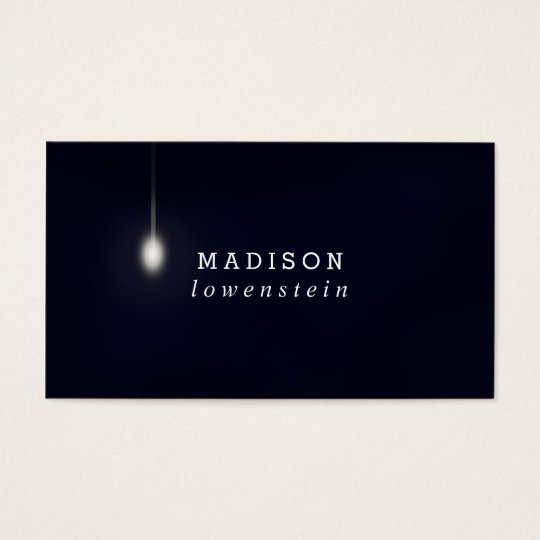 Navy Blue Whimsical Light Bulb Modern Business Card