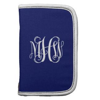 Navy Blue White 3 Initials Vine Script Monogram Folio Planner