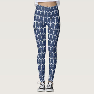 Navy Blue White Anchor Nautical Pattern Legging