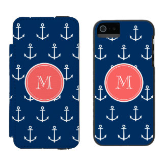 Navy Blue White Anchors Pattern, Coral Monogram 2 Incipio Watson™ iPhone 5 Wallet Case