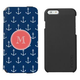 Navy Blue White Anchors Pattern, Coral Monogram 2 Incipio Watson™ iPhone 6 Wallet Case