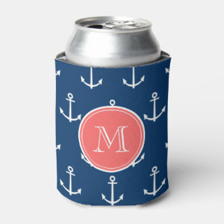 Navy Blue White Anchors Pattern, Coral Monogram Can Cooler