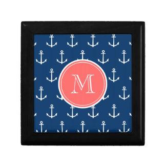 Navy Blue White Anchors Pattern, Coral Monogram Gift Box