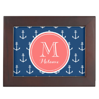 Navy Blue White Anchors Pattern, Coral Monogram Keepsake Box