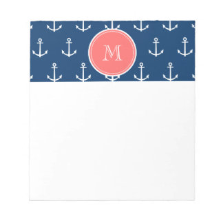 Navy Blue White Anchors Pattern, Coral Monogram Notepad