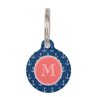 Navy Blue White Anchors Pattern, Coral Monogram Pet ID Tag