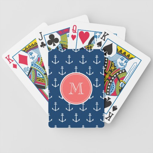 Navy Blue White Anchors Pattern, Coral Monogram Bicycle Playing Cards