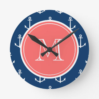 Navy Blue White Anchors Pattern, Coral Monogram Round Clock