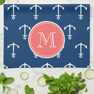 Navy Blue White Anchors Pattern, Coral Monogram Tea Towels
