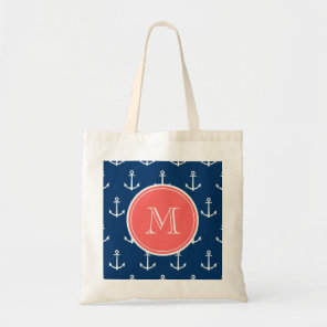Navy Blue White Anchors Pattern, Coral Monogram Tote Bag