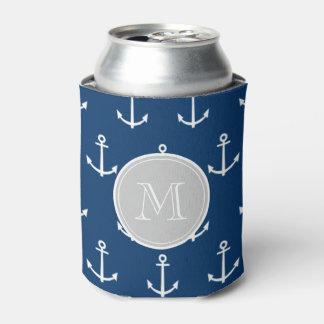 Navy Blue White Anchors Pattern, Gray Monogram Can Cooler