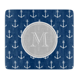 Navy Blue White Anchors Pattern, Gray Monogram Cutting Board