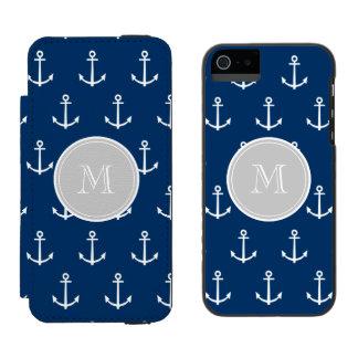 Navy Blue White Anchors Pattern, Gray Monogram Incipio Watson™ iPhone 5 Wallet Case
