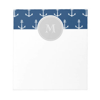 Navy Blue White Anchors Pattern, Gray Monogram Notepad