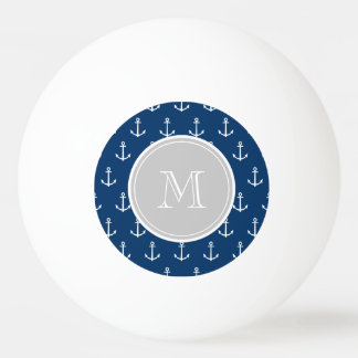 Navy Blue White Anchors Pattern, Gray Monogram Ping Pong Ball