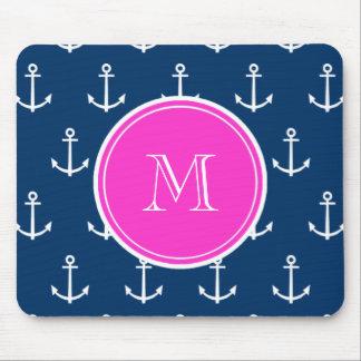 Navy Blue White Anchors Pattern, Hot Pink Monogram Mouse Mat