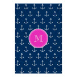Navy Blue White Anchors Pattern, Hot Pink Monogram Poster