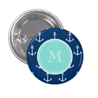 Navy Blue White Anchors Pattern, Mint Green Monogr 3 Cm Round Badge