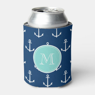 Navy Blue White Anchors Pattern, Mint Green Monogr Can Cooler