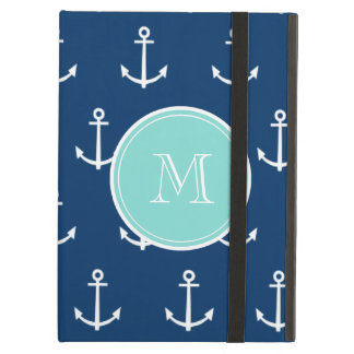 Navy Blue White Anchors Pattern, Mint Green Monogr Cover For iPad Air