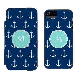 Navy Blue White Anchors Pattern, Mint Green Monogr Incipio Watson™ iPhone 5 Wallet Case