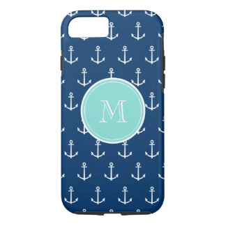 Navy Blue White Anchors Pattern, Mint Green Monogr iPhone 7 Case