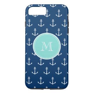 Navy Blue White Anchors Pattern, Mint Green Monogr iPhone 8 Plus/7 Plus Case