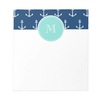 Navy Blue White Anchors Pattern, Mint Green Monogr Notepad