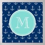 Navy Blue White Anchors Pattern, Mint Green Monogr Poster