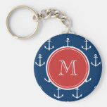 Navy Blue White Anchors Pattern, Red Monogram