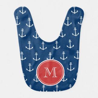 Navy Blue White Anchors Pattern, Red Monogram Bib