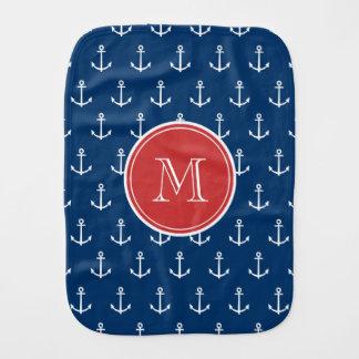 Navy Blue White Anchors Pattern, Red Monogram Burp Cloth