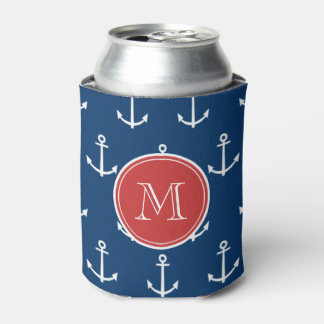 Navy Blue White Anchors Pattern, Red Monogram Can Cooler