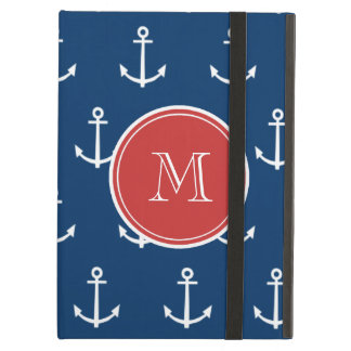 Navy Blue White Anchors Pattern, Red Monogram Case For iPad Air