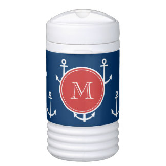 Navy Blue White Anchors Pattern, Red Monogram Cooler