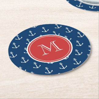 Navy Blue White Anchors Pattern, Red Monogram Round Paper Coaster