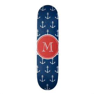 Navy Blue White Anchors Pattern, Red Monogram Skateboard Decks