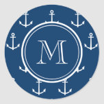 Navy Blue White Anchors Pattern, Your Monogram