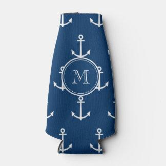 Navy Blue White Anchors Pattern, Your Monogram Bottle Cooler