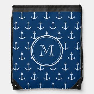 Navy Blue White Anchors Pattern, Your Monogram Drawstring Bag