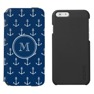 Navy Blue White Anchors Pattern, Your Monogram Incipio Watson™ iPhone 6 Wallet Case