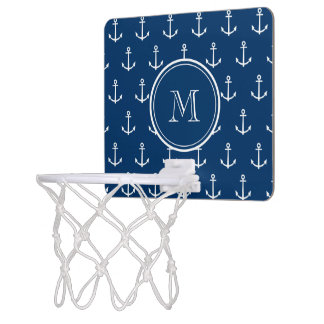 Navy Blue White Anchors Pattern, Your Monogram Mini Basketball Hoop