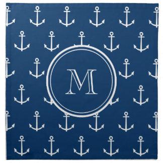 Navy Blue White Anchors Pattern, Your Monogram Napkin