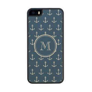 Navy Blue White Anchors Pattern, Your Monogram Wood iPhone SE/5/5s Case
