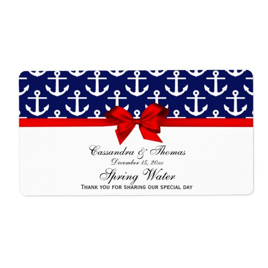 Navy Blue, White Anchors Red Bow Party Water Label