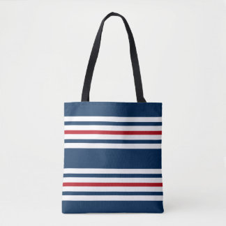 Navy Blue, White and Red Striped Tote Bag