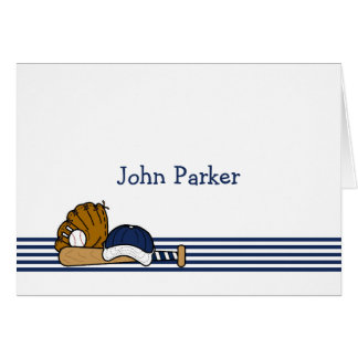 Navy Blue White Baseball Custom Thank You Note 2 Card