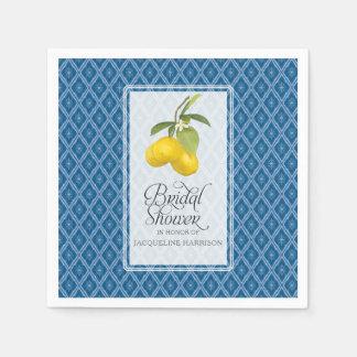 Navy Blue White Bridal Shower Lemon Citrus Pattern Paper Napkins