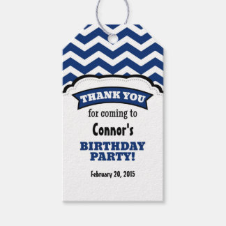 Navy Blue White Chevron Birthday Thank You Tags